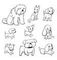 cartoon style dogs set vector image