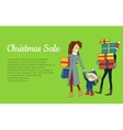 Christmas Sale Banner Family Going with Presents vector image