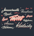 usa states brush lettering vector image