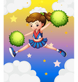 A girl with green pompoms vector image vector image