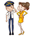 A simple coloured sketch of a pilot and a hostess vector image