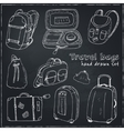 Black contours of different travel bags and vector image