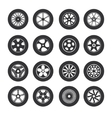 Black Tire Wheels Icon Set vector image