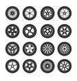 Black Tire Wheels Icon Set vector image vector image