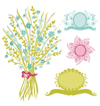 bouquet and banners vector image vector image