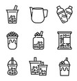 bubble tea or pearl milk tea line icon set vector image