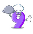 chef with food number nine balloon font shaped vector image