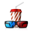 Cinema - 3d glasses and red striped vector image