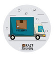 Circular frame background with fast delivery truck