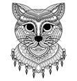 clean lines doodle art cute cat for coloring bo vector image vector image