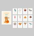 cute animal calendar 2021 kid animals forest vector image