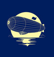 dirigible airship with full moon vector image vector image
