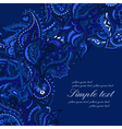 elegant card with Indian paisley pattern Blue vector image vector image