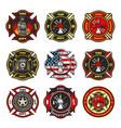 fire department badges firefighter team emblems vector image vector image