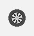 flat car wheel with tire icon on gray vector image vector image