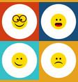flat icon emoji set of sad wonder winking and vector image vector image
