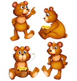 Four brown bears vector image vector image