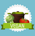 group of vegetables vegetarian food vector image vector image
