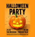 happy halloween party poster with pumpkin vector image
