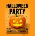 happy halloween party poster with pumpkin vector image