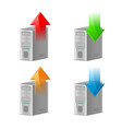 icon set of computer with upload and download vector image vector image