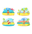 kids on vacation children on beach summertime vector image vector image
