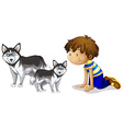 Little boy and two dogs vector image vector image