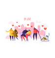 male and female characters in love happy couples vector image