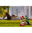 Man and woman relaxing on the grass next to picnic vector image vector image