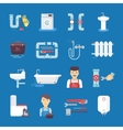 Plumbing Flat Icons Collection Blue Background vector image vector image