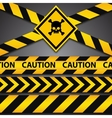 Police line and danger tapes on dark background vector image vector image