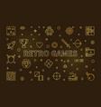 retro games concept golden banner in thin vector image