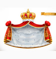 royal mantle and crown 3d icon vector image
