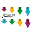 set of bright different arrows with straight vector image