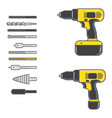 set of cordless drill with complete bits flat vector image vector image