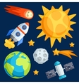 solar system planets and celestial bodies vector image vector image