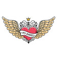 tattoo heart with wings ribbon and crownmy angel vector image vector image