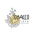 tobacco logo design emblem with tobacco plant can vector image vector image