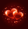 two shiny valentines day hearts background vector image vector image