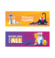 vivid bowling banners with objects for play pins vector image