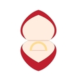 wedding golden ring in a red box vector image