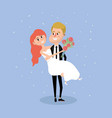couple married with bouquet flowers in the hand vector image