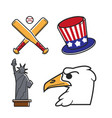 most common symbols of united states of america vector image