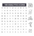 analytics editable line icons 100 set vector image vector image