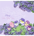 Background with lilac and pansies vector image vector image