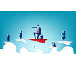 business people flying on paper plane concept vector image vector image