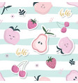 cartoon seamless pattern summer fruit background vector image vector image