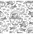 cat love fish sits in mug seamless pattern vector image