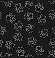 cat or dog footprint dark seamless pattern vector image