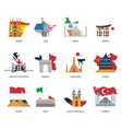 Countries Flags Landmarks Flat Icons Set vector image vector image